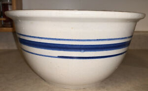 Vtg-Stoneware-10-Blue-Striped-Unmarked-Mixing-Serving-Bowl