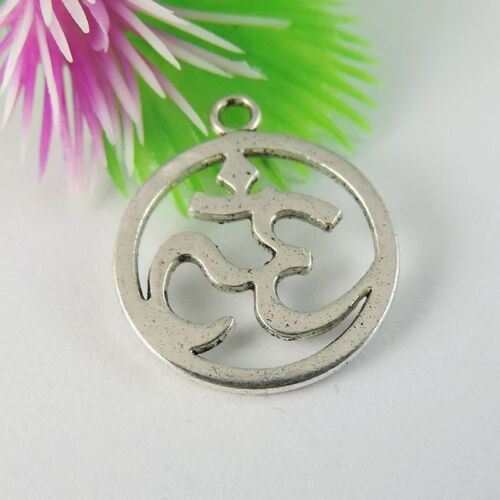 48PCS Vintage Silver Alloy No 35 Round Charms Pendant Findings 22*19*1mm 39107