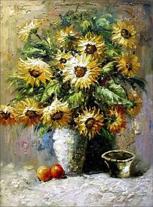 Stretched-Still-Life-with-Sunflowers-in-Vase-Quality-Oil-Painting-30x40in