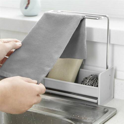 Kitchen Sponge Drain Holder Storage Rack Basket Wash Soap Shelf Organiser P3