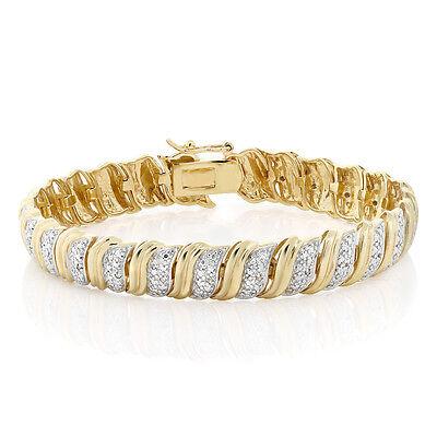18K Yellow Gold Plated Champagne Diamond Tennis Bracelet, 1/5 Ctw 7.5 Inch