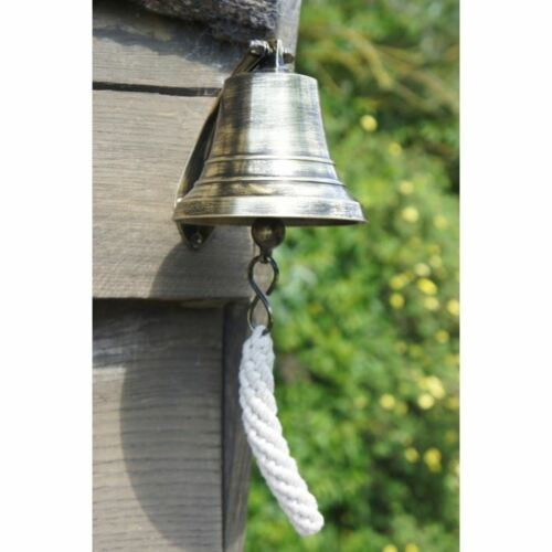 "Extra Large 7/"" Solid Antique Brass Ship Hanging Bell With Rope Lanyard"