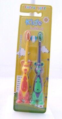 Kid's Toothbrush Enfant Set Deux Brosses Kangourou Ou Chenille Avec Socle Good Taste
