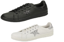 Ladies Spot On Black/White Glitter Lace Up Trainers UK Sizes 3-8 F80269