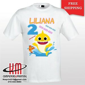 Image Is Loading Baby Shark Custom T Shirt PERSONALIZED Birthday