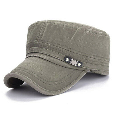 Mens Military Washed Hats Flat Top Baseball Caps Cotton Dad Caps Snapback Caps
