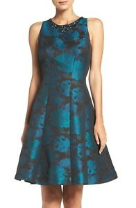 MAGGY-LONDON-Dare-to-Dazzle-Embellished-Jacquard-Fit-amp-Flare-Dress-Sz12-Black-Gn