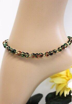 Fashion Jewelry Smart Glass Jewels Gold Fußkettchen Fußkette Grün Perlen Hippie Länge 27 Cm #k075