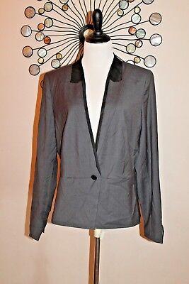 Banana Republic Women/'s Grey /& Black Tuxedo Blazer Size 14