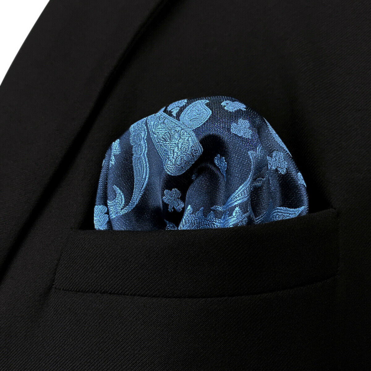 S&W SHLAX&WING Pocket Squares for Men Blue Steel Navy Paisley Silk