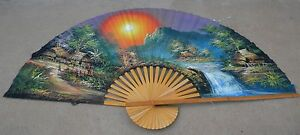 Vintage-Chinese-Wall-Fan-Huge-Hand-Painted-Bamboo-Silk-Wall-Decor-Asian