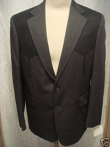 40R New  Herren Western Wear Sport Coat  Dark grau Heather