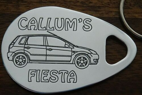 Personalised FORD FIESTA keyring 5 door 02-08 ANY NAME engraved aluminium gift