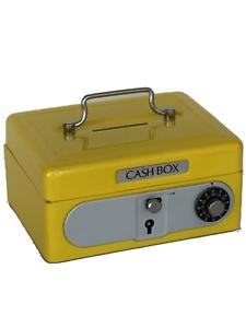 Yellow Kid Mini Metal Cash Box Safe Coin Box Treasure Lock Box Piggy Bank SS986Y
