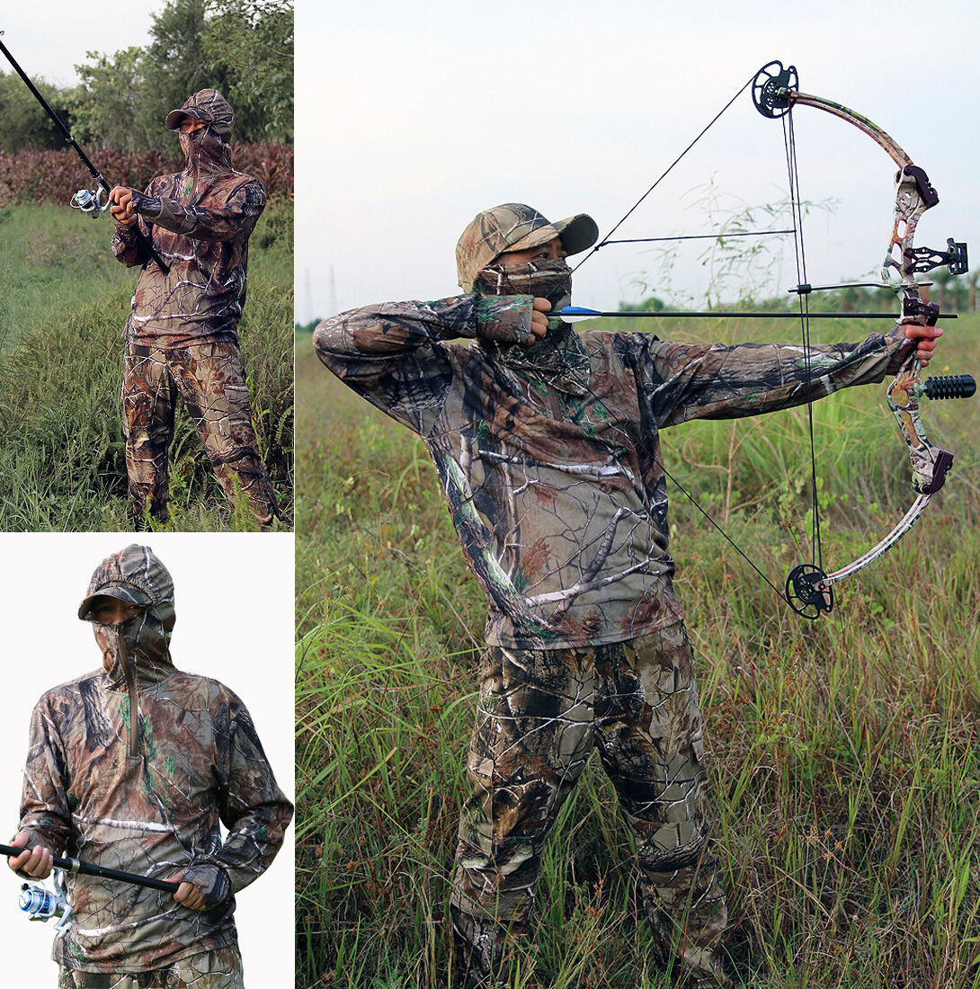 Breathable Cotton Bionic Camo  Hunting Fishing Clothes sets Leaf top + Pants suit  for your style of play at the cheapest prices