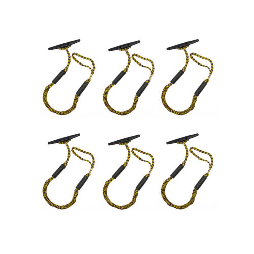 6 Pack of 3.5-5.5 ft Stretch Moorng Rope for Boat Bungee Dock Line