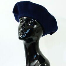 "True Vintage Women's Soft Navy Blue Wool Felted Winter Beret Hat Small 54cm 21"""