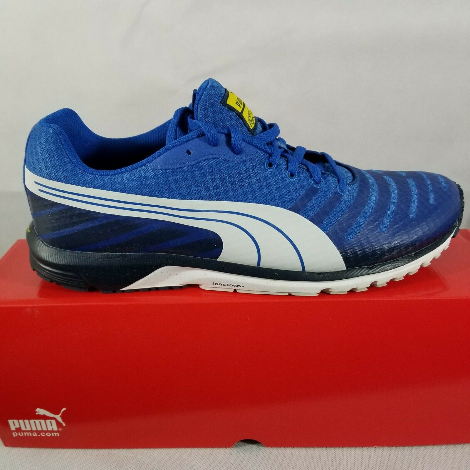 PUMA Men's Faas 300 V3 Running shoes bluee White Vibrant Yellow 187066 12 Size 12M