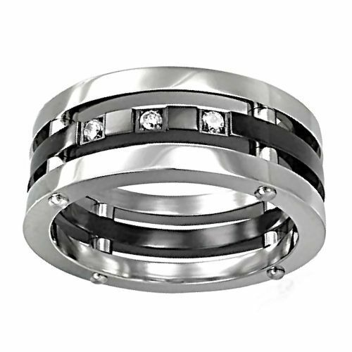 Mens 316 Stainless Steel Russian Ice on Fire CZ Riveted 3 in 1 Band Ring 8 to 14