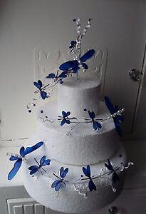 A 3 Tier Wedding Cake Blue Light Teal Or Pink Dragonflies Decoration