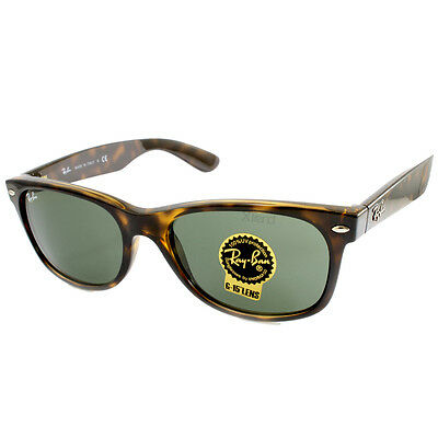 Ray Ban RB2132 902 902L New Wayfarer Polished Tortoise/Green Sunglasses 52 & 55