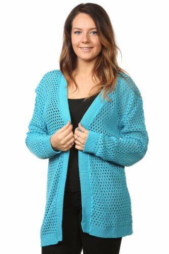New Plus Ladies Women's Cardigans Mesh Knitted Full Sleeves Top Jumpers 16 to 26