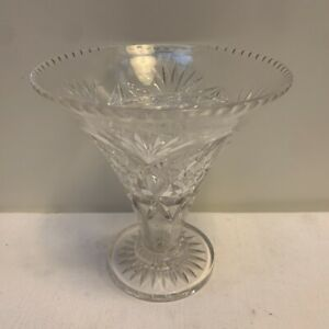 Large-Vintage-Clear-CRYSTAL-GLASS-VASE-19cm-high