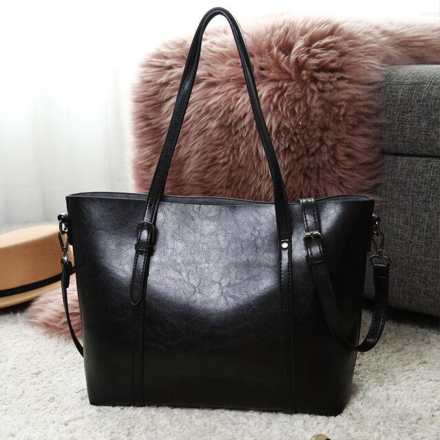 decdbadd983 Women Classic PU Leather Handbag Plain Large Shoulder Tote Bag Retro ...