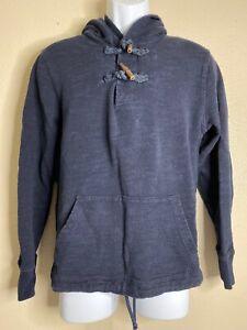 J-Crew-Men-Size-L-Blue-Outerwear-Fleece-Hoodie-Kangaroo-Pockets