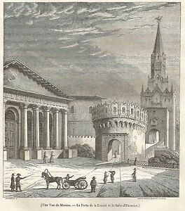 A5227 Mosca - Veduta - Animata - Xilografia - Stampa Antica Del 1842 - Engraving