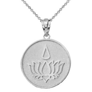 Cutout Lotus Flower Blooming .925 Solid Sterling Silver Pendant