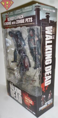 """MICHONNE with ZOMBIE PETS The Walking Dead Bloody 3-Pack 5/"""" Action Figures 2013"""