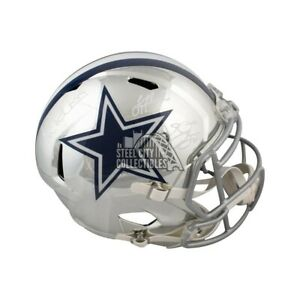 BAS COA Dallas Cowboys Triplets Autographed Chrome Proline Full-Size Football Helmet