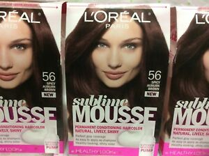 LOT OF 3 - L\'Oreal Sublime Mousse Healthy Look Hair Color Spicy ...
