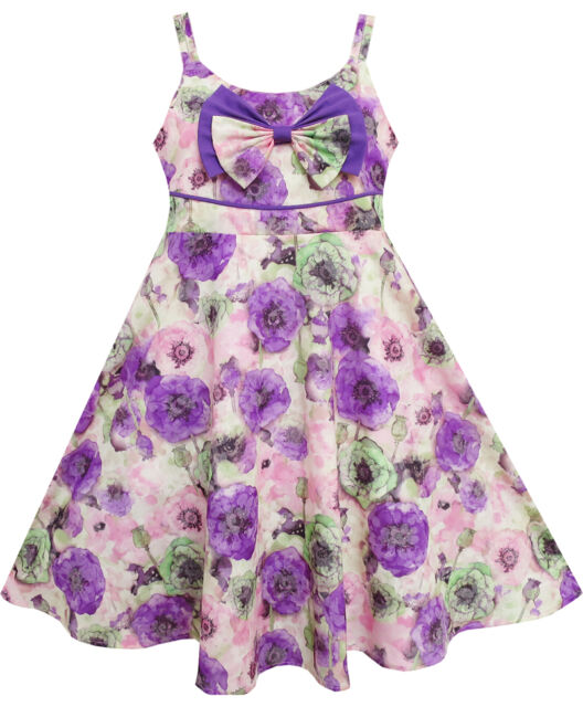 Sunny Fashion Girls Dress Sling Bow Tie Flower Princess Cotton Purple Size 3-10