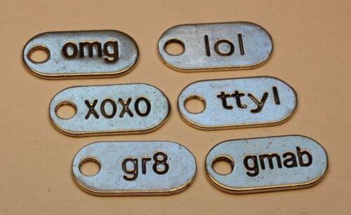 Charms imprimé avec TXT acronymes argot Dog Tag Style Couleur Argent Pack De 10