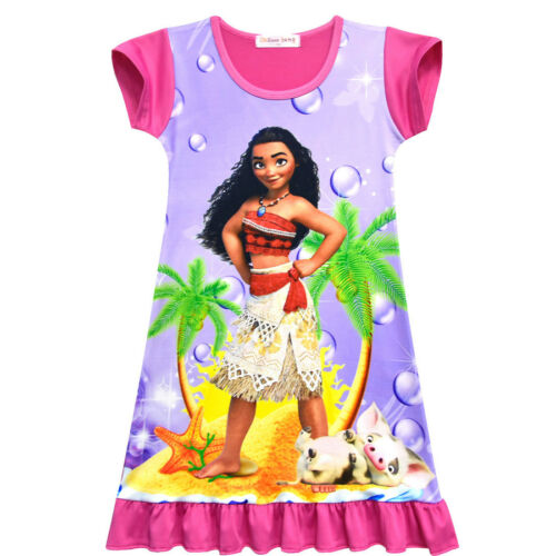 Moana Girls Summer Fashion Nightgown Cosplay Halloween Short Sleeve Loose Dress