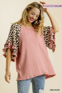 Umgee Animal Print Linen Blend Layered Ruffle Bell Sleeve Top Size S