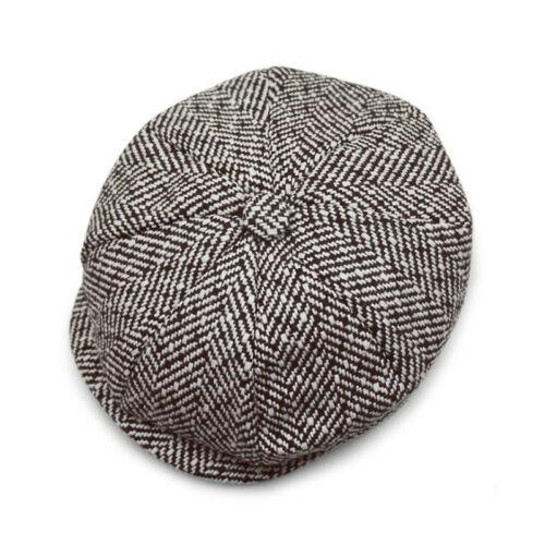 Mens Herringbone Gatsby Flat Cap Country Baker Newsboy Blinders Peaky Tweed Hat