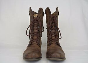 STEVE-MADDEN-Women-039-s-Military-Boots-Brown-Winter-Leather-Size-6-5