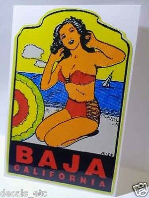 Baja California  Vintage Style Travel Decal / Vinyl Sticker, Luggage Label