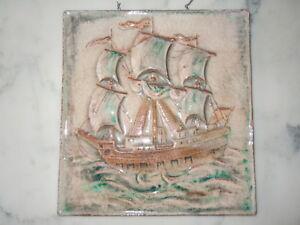 Bas Relief Céramique Décor Vieux Gréement Voguant Bateau Vers 1950 Ve1tmqcg-08001133-317891180