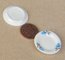 1:12 Scale 2 Round White Plates Doll House Miniature Ceramic Accessory b67