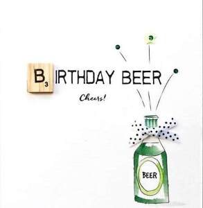 Image Is Loading Birthday Beer Bexyboo Scrabbley Neon Card Handmade