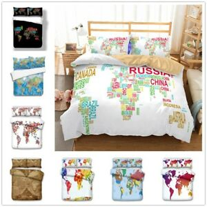 Details about 3D World Map Retro Bedding Set Duvet/Quilt/Doona Cover  Pillowcase Colorful Print