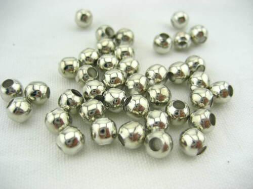 50pcs de qualité 6 mm Plaqué Argent Spacer Perles Fabrication de Bijoux Bracelet Perles