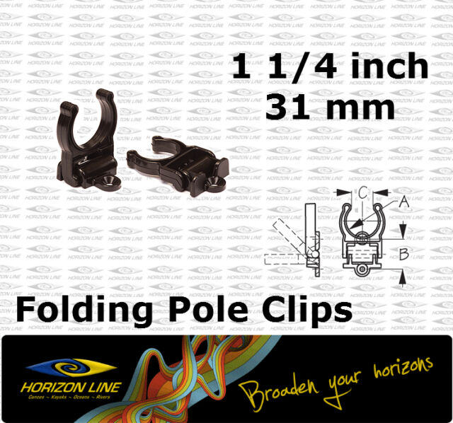 "Folding Pole Storage Clip 31mm 1 1/4"" Boat 4wd Kayak Fitting deck pipe tube bar."