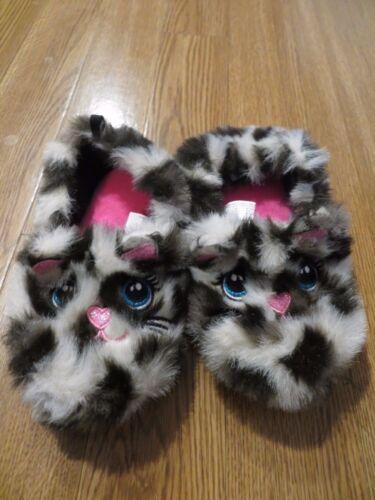 NEW  GIRLS KITTEN CAT SLIPPERS  FAUX FUR 5-6 9-10   SLIP ONS 7-8