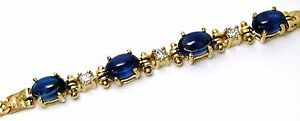 Ladies-14k-yellow-gold-sapphire-cabochon-and-diamond-bracelet