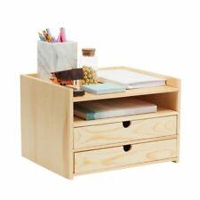 Wooden Desktop Organizer With Drawers 3 Tier Office Storage 127 X 107 X 87